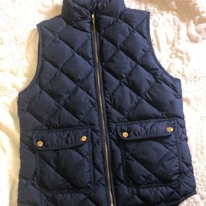 J. Crew Excursion Quilted Down Vest in Navy